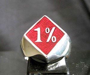 Bild von Sterling Silber Ring Dunkelrotes 1% Prozent in Diamanten-Form, Biker, Gesetzlos
