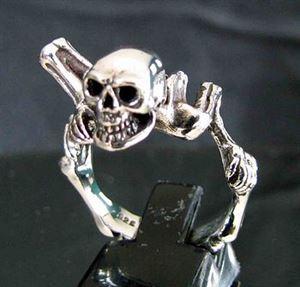 Bild von Sterling Silber Ring Totenkopf mit Skelett, Kriegsherr, Biker, Alien