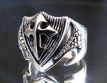 sterling silber ring drachen schild mit tempelritter kreuz swissringshop. Black Bedroom Furniture Sets. Home Design Ideas