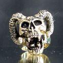 Bild von Bronze Ring Totenkopf mit Hörner, Teufel, Satan , Ziegenbock