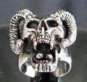Bild von Sterling Silber Ring Totenkopf mit Hörner, Teufel, Satan , Ziegenbock