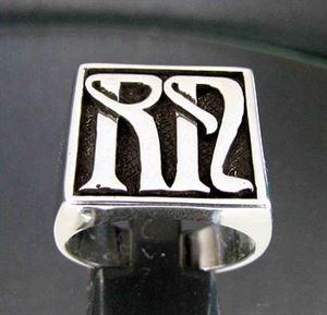 Bild von Sterling Silber Ring - Initialen - Monogramm nach Kundenwunsch, Quadratische Form