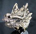 Bild von Bronze Ring mit Drachenkopf Kopf Fuchur Dragon Heart