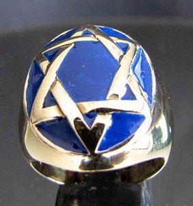 Bild von Bronze Ring mit Hexagramm Hexagon Kelten Oval, Blau