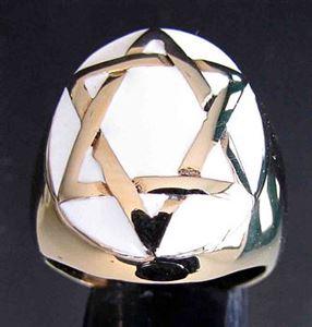 Bild von Bronze Ring mit Hexagramm Hexagon Kelten Oval, Weiss
