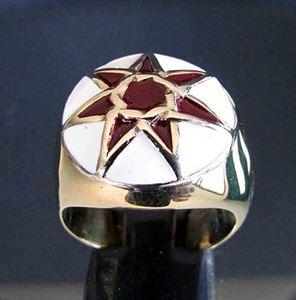 Bild von Bronze Ring mit Heptagramm Heptagon 7 zackiger Stern Venus Neptune, Gewölbte Form, Burgunderrot - Weiss
