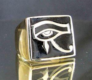 Bild von Bronze Ring mit Auge des Ra Wedjat Horus Ägypten, Schwarz