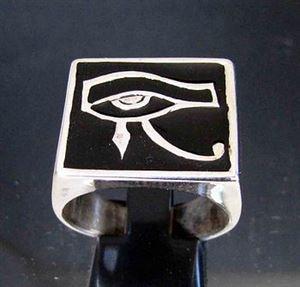 Bild von Sterling Silber Ring mit Auge des Ra Wedjat Horus Ägypten, Schwarz