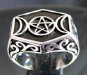 Bild von Sterling Silber Ring mit Halbmonden und Pentagramm Arabisch