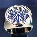 Bild von Bronze Ring Vierblättriges Kleeblatt Irland  Shamrock, Blau
