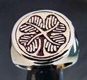 Bild von Bronze Ring Vierblättriges Kleeblatt Irland  Shamrock, Burgunderrot