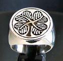Bild von Sterling Silber Ring Vierblättriges Kleeblatt Irland  Shamrock