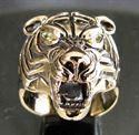 Bild von Bronze Ring Tiger Kopf mit gelben Zirkonia Augen Predator Dschungel König