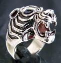 Bild von Sterling Silber Ring Tiger Kopf mit blauen Saphir Augen Predator Dschungel König