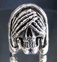Bild von Sterling Silber Ring Grimmiger Sensenmann Totenkopf nicht schauen