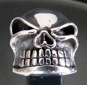 Bild von Sterling Silber Ring Augen Zwinkender Bulliger Totenkopf
