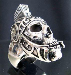 Bild von Sterling Silber Ring Römischer Gladiator Totenkopf