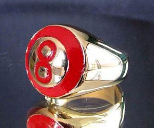 Bild von Bronze Ring mit Roter Acht 8 Billiard Pool