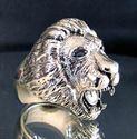 Bild von Sterling Silber Ring mit Kopf eines Löwen mit blauen Saphir Augen, König der Tiere