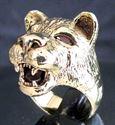 Bild von Bronze Ring mit Kopf einer Löwin mit roten Zirkonia Augen