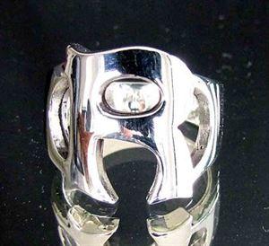 Bild von Sterling Silber Ring mit Grossbuchstabe R, Initialen