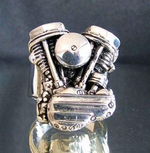 Bild von Sterling Silber Harley Davidson Doppel Zylinderkopf Biker Street Fighter MC