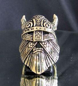 Bild von Bronze Ring Wikinger Maske mit Hörner Thor