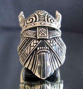 Bild von Sterling Silber Wikinger Maske mit Hörner Thor